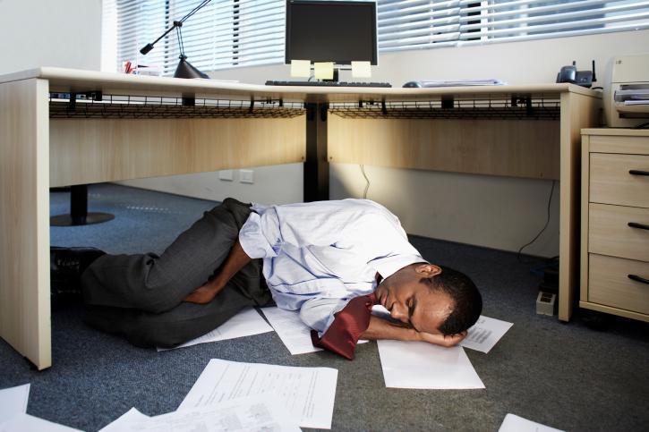 Man Sleeping At Work Blackdoctor