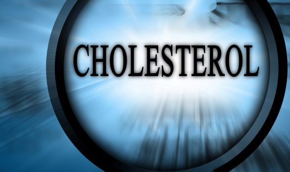 cholesterol on a blue background with magnifier on top