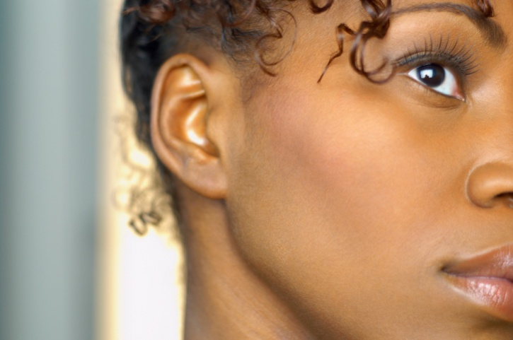 close up of side profile of african american woman
