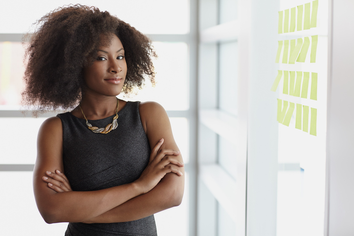 African American businesswoman with natural hair